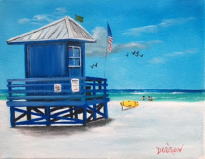 "Private Collection Of: Bob & Mindy Nicholson Baltimore, Md. ""Blue Lifeguard Stand"" #143416 - $95 8x10"
