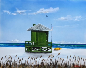 "Private Collection Of: Bob & Mindy Nicholson Baltimore, Md ""Green Lifeguard Stand"" #143616 - $95 8x10"