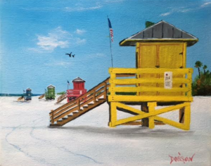 "Private Collection Of: Beverly & Marvin Richards Sarasota, Florida ""Yellow Lifeguard Stand"" #143716 $95 8x10"