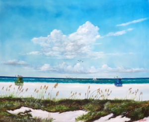"Private Collection Of: Anne & Sam Reese Siesta Key, Florida ""Siesta Key Lifeguard Stands"" #144516 - $590 28x34"