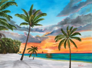 "Private Collection Of: Bruce & Ellen Sherman Sarasota, Florida ""A Sunset In Paradise"" #145716 $590 28x36"