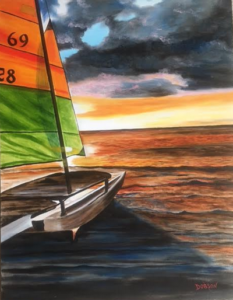 "Private Collection Of: Teresita Johnston Baltimore, MD ""Catamaran At Sunset"" #145816 $590 28x36"
