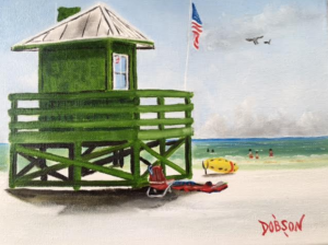 "Private Collection Of: Marsha Tucker Siesta Key, Florida ""Green Lifeguard Stand On SK"" #146416 $95 8x10"