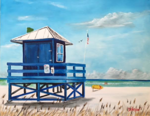 "Private Collection Of: Mary Brown Lakewood Ranch, Florida ""Blue Lifeguard Stand On Siesta Key"" #146516 $250 16x20 #146516"