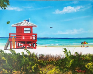 "Private Collection Of: Tom & Vicki Johnson University City, Missouri ""Siesta Key Red Lifeguard Stand"" #147116 $250 16x20"