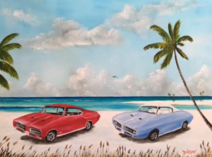 "Private Collection Of: John & Sherry Becker Cincinnati, Ohio ""My 68' & 69' GTOs On The Beach"" #147616 $350 18""h x 24""w"
