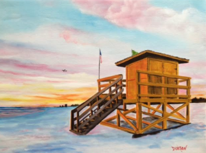 "Private Collection Of: Mary Brown Lakewood Ranch, Florida ""Yellow Lifeguard Stand At Sunset"" #148016 $350 18x24"