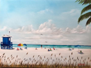 "Private Collection Of: Ruthi Dolovy Poland, Ohio ""meeting At The Blue Lifeguard Stand"" #148116 BUY $350 18""h x 24""w"