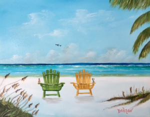 "Private Collection Of: Bonnie & Dale Fidler Aurora, Illinois ""Our Chairs On Siesta Key"" #148217 $130 11x14"