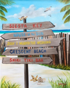 "Private Collection Of: Janet Day Sarasota, Florida ""Signs On The Beach"" #149517 $250 16x20"