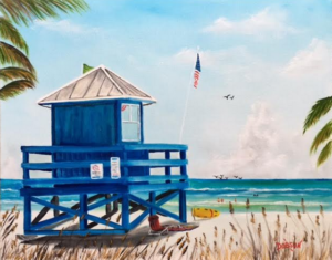 "Private Collection Of: Mike Granthom Siesta Key, Florida ""Siesta Key Blue Lifeguard Stand"" #138916 $250 16x20"