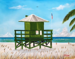 "Private Collection Of: Jane Ritchy Darin, Conn ""Siesta Key Green Lifeguard Stand"" #150517 - $250 16x20"