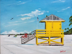 "Private Collection Of: Ruthi Dolovy Poland, Ohio ""The Siesta Key Lifeguard Stands"" #152117 $140 11""x14"""