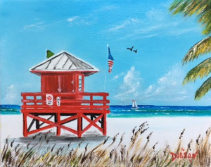 "Private Collection Of: Marsha Tucker Siesta Key, Florida ""Red Lifeguard Stand"" #152317 $95 8x10"