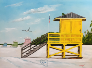 "Private Collection Of: Mirco Schultis Wiesbaden, Germany ""Lifeguard Stands On Siesta Key"" #152617 $325 18"" x 24"""