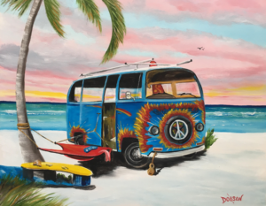 "Private Collection Of: Bruce Hinckley Sarasota, Florida ""Blue VW On The Beach"" #155317 $250 16""h x 20""w"