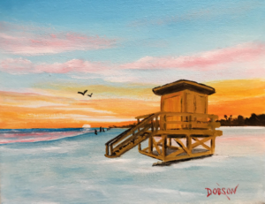 "Private Collection Of: Marsha Tucker Siesta Key, Florida ""Yellow Lifeguard Stand On SK"" #156617 $95 8x10"