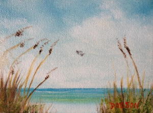 "Private Collection Of Jane Richey Darien, Conn ""Siesta Key & Sea Oats"" #18014 5x7"