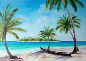 "Collection of: Carlos & Dana Donaldson - Fort Wayne, Indiana ""Kayak on the Beach"" 24 x 36 #12614"