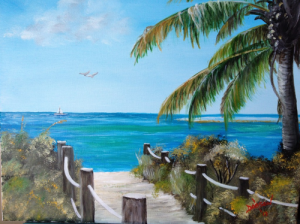 "Collection of: David & Geri Bambey, Sarasota, Florida ""Siesta Key Florida Paradise"" 16x20 #10513"