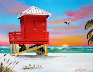 "Private Collection Of: Linda Colonbosi Andover, Ma ""Red Lifeguard Shack On Siesta Key"" #134116 BUY $95 8x10"