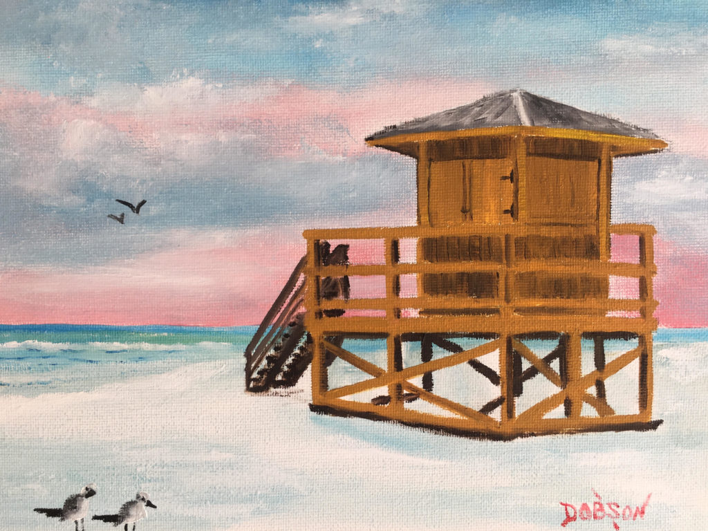"""""""Yellow Lifeguard Stand"""" #157817 SOLD $95 8""""h x 10""""w - FREE shipping lower US 48 & Canada"""