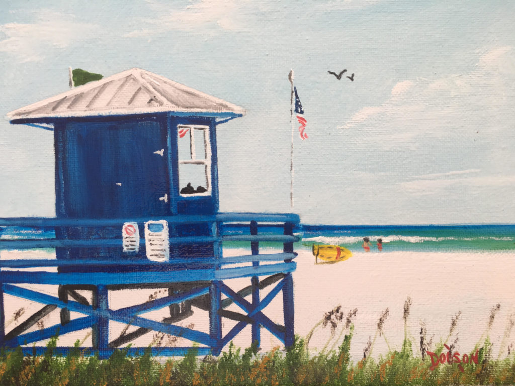 """""""SK Blue Lifeguard Stand"""" #158818 BUY $95 8"""" x 10"""" - FREE shipping lower US 48 & Canada"""