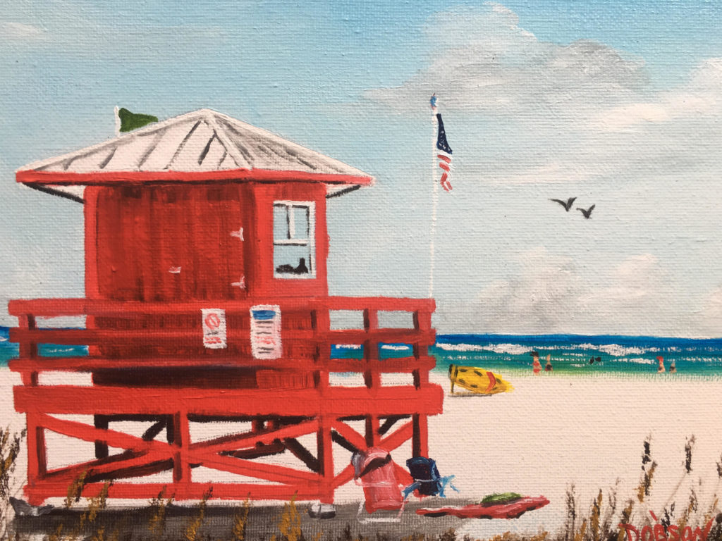 """""""SK Red Lifeguard Stand"""" #158918 BUY $95 8"""" x 10"""" - FREE shipping lower US 48 & Canada"""