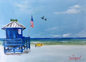 "Private Collection Of: Guy Perry Austin, Texas ""Blue Lifeguard Shack On Siesta Key"" #139316 $40 5x7"