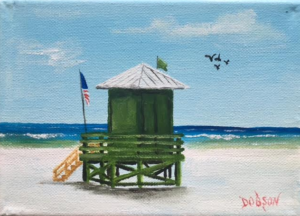 """Green Lifeguard Stand"" #144716 BUY $60 5x7 - FREE Shipping lower US $* & Canada"