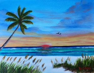 """Sunset On The Key"" #151017 BUY $95 8x10 - FREE shipping lower US 48 & Canada"