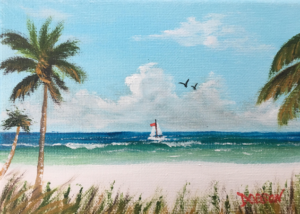 """Sail Boat On Siesta Key"" #155017 BUY $60 5"" x 7"" - FREE shipping lower US 48 & Canada"