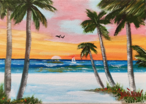 """Sunset On The Key"" #155217 BUY $60 5""x7"" - FREE shipping lower US 48 & Canada"
