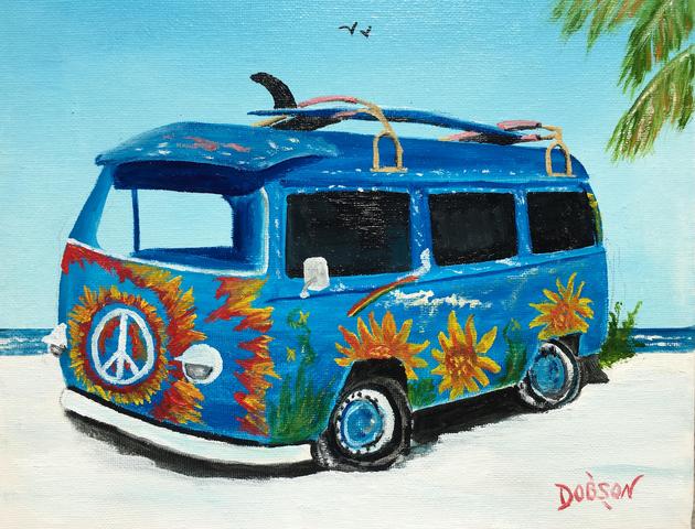 """Hippy VW Van"" #156417 BUY $95 8""h x 10""w - FREE shipping lower US 48 & Canada"