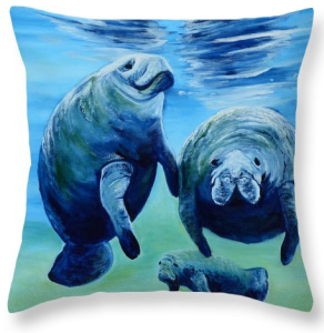 """A Manatee Family"" Throw Pillow BUY"