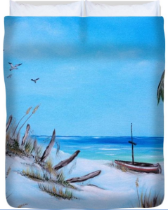 Broken Fence On Beach Duvet Cover BUY