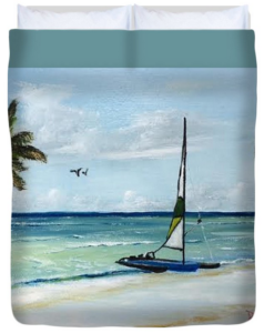 """Catamaran On The Beach"" Duvet Cover BUY"