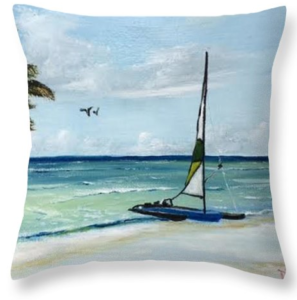 """Catamaran On The Beach"" Throw Pillow BUY"