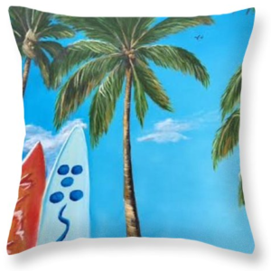"""Clear Sky Let's Surf"" Throw Pillow BUY"