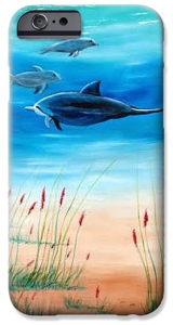 """Dolphins Underwater"" Cell Phone Case BUY"