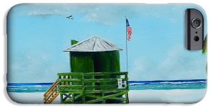 """Green Lifeguard Shack On Siesta Key"" Cell Phone Case BUY"