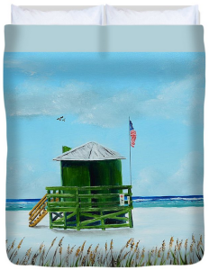 """Green Lifeguard Shack On Siesta Key"" Duvet Cover BUY"