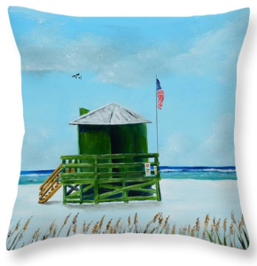 """Green Lifeguard Shack On Siesta Key"" Throw Pillow BUY"
