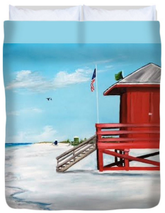 """Let's Meet At The Red Lifeguard Shack"" Duvet Cover BUY"