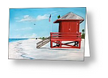 """Let's Meet At The Red Lifeguard Shack"" Greeting Card BUY"