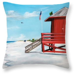 """Let's Meet At The Red Lifeguard Shack"" Throw Pillow BUY"