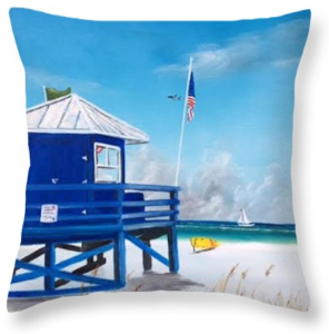 """Meet At Blue Lifeguard"" Throw Pillow BUY"