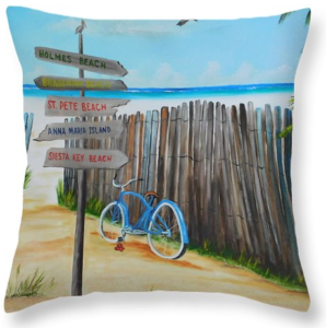 """My Favorite Beaches"" Throw Pillow  BUY"