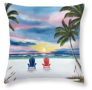 """Our Spot At Sunset"" Throw Pillow BUY"