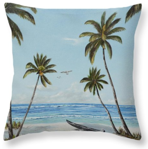 """Paradise Beach"" Throw Pillow BUY"